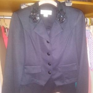 Pablo Collection Women Black Suit Jacket Skirt Set